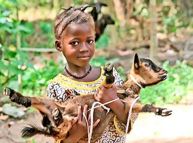 Chidren with goat