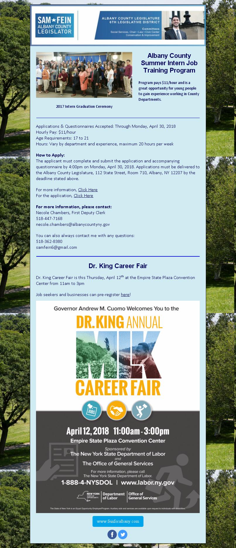 Summer Internship Program and Dr. King Job Fair