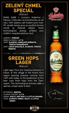 Hubertus světlý, zelený chmel.