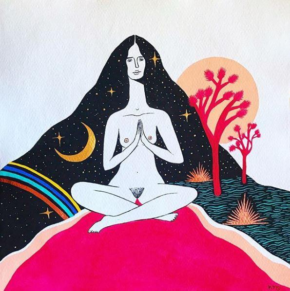 Illustration d'une femme qui saigne beaucoup. Artiste: Kallen Mikel