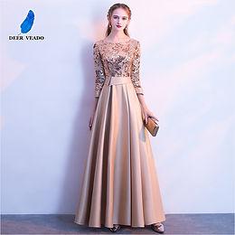 DEERVEADO Dress Long Prom Party Dresses Evening Gown Formal Dress Women