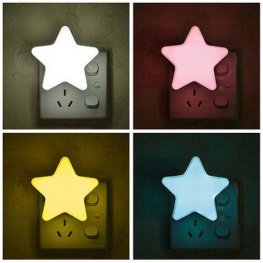 Star LED Night Light Plug-In Socket Bedside Wall Lamp Energy Saving Light