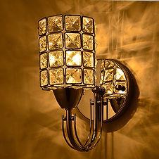 Column Cylindrical Silver Golden Corridor Crystal  Wall Light Lamp Sconce