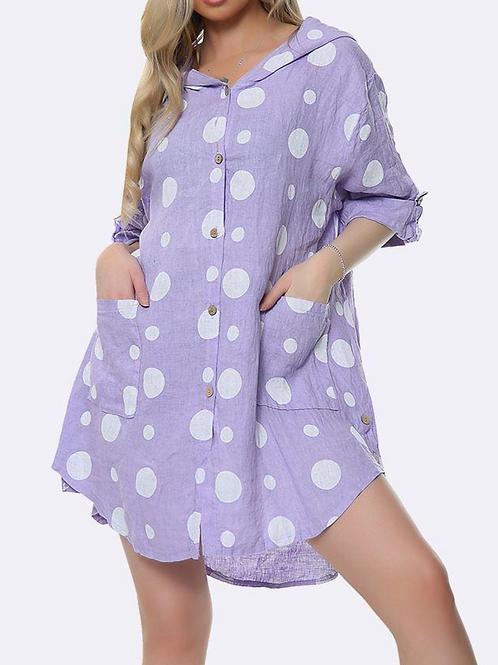 Linen Hooded Dot Tunic