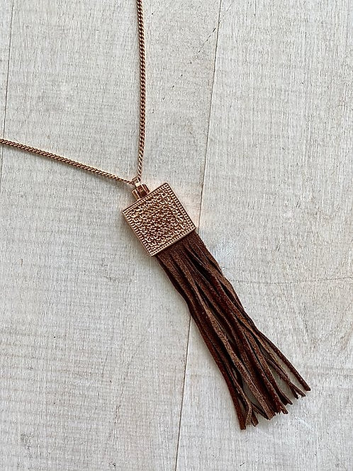 Leather Tassel Bud to Rose Necklace