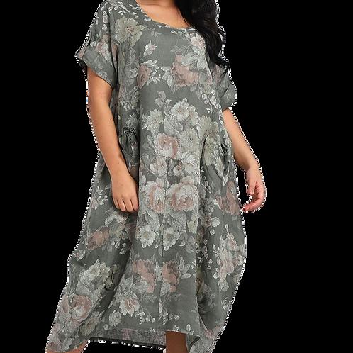 Floral Sleeved Linen Maxi Dress
