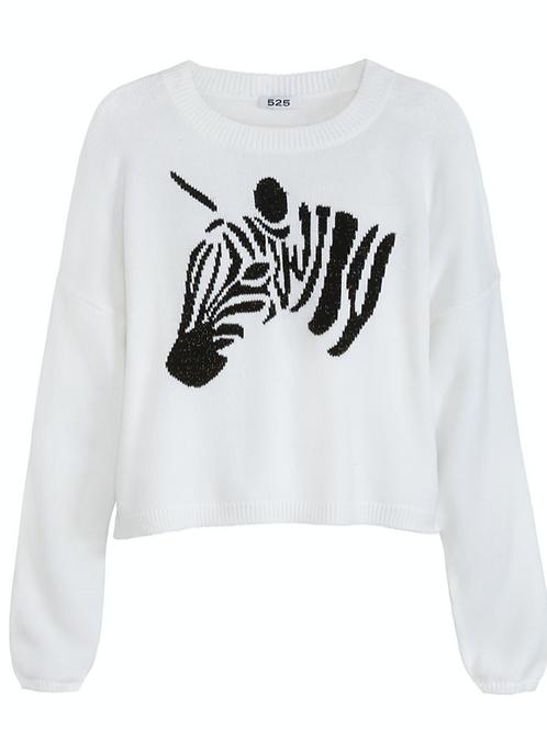 Zebra Metallic Cotton Sweater
