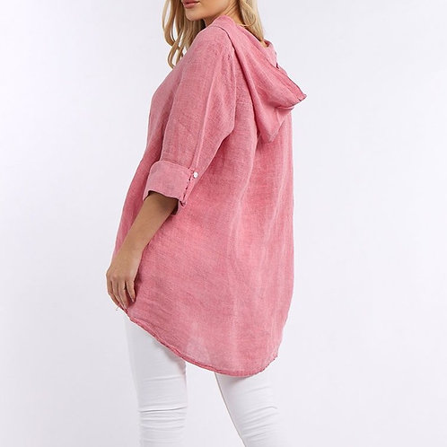 Linen Hooded Shirt