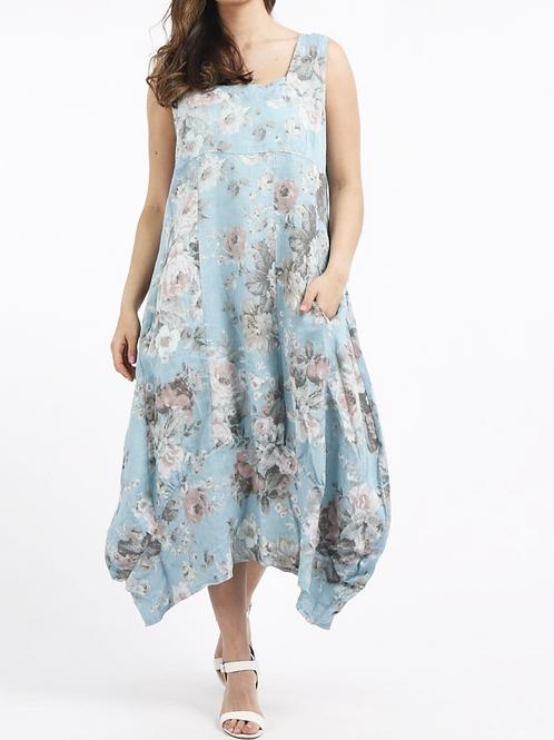 Linen Maxi Dress Tulip Hem Floral