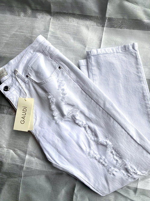 Gaudi Italy White Ripped Jeans