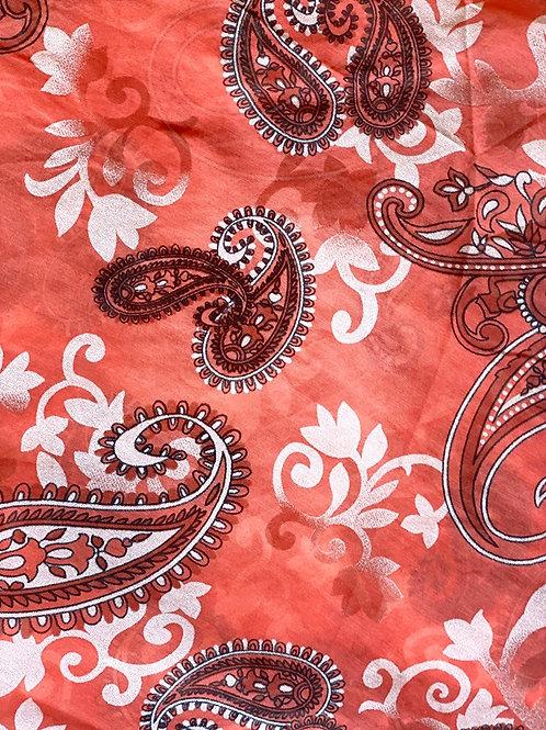 Paisley Silk/Cotton Oblique Cut Scarf