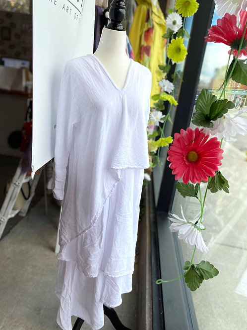Cotton White Layered Dress