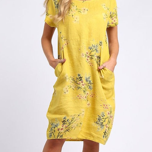 Mustard Linen Floral Dress