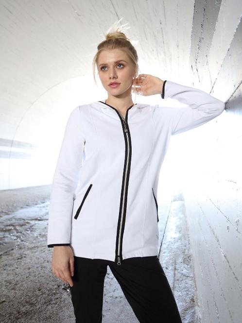 Cotton Contrast Zip Hooded Jacket