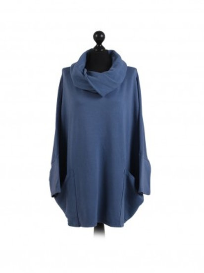 Two Pocket Cowl Cotton Tunic