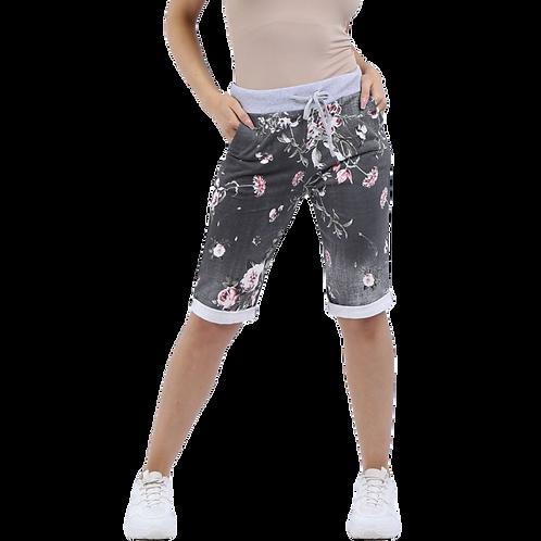 Black Floral Cotton Shorts