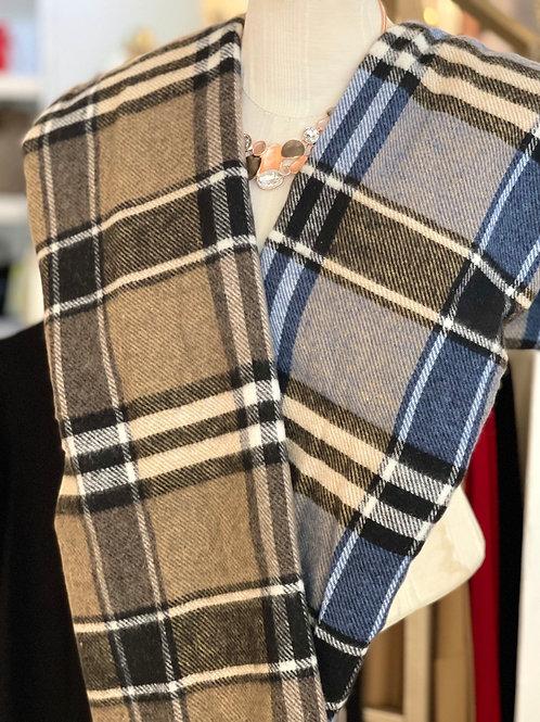 Unisex Wool Blend Fringed Plaid Scarf