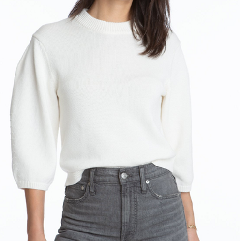 Cotton Crop Volume Sleeve Sweater