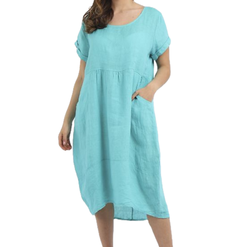 Front Pocket Linen Dress