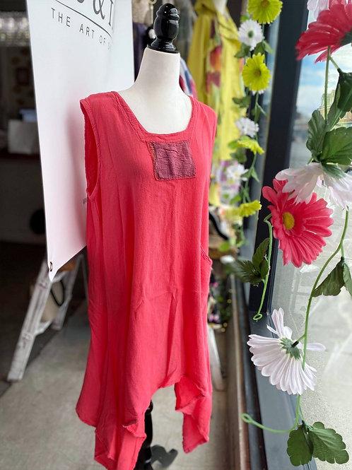 Cotton Coral Pink Sleeveless Tunic