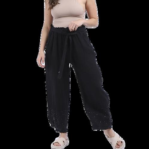 Embellished Hem Linen Culottes