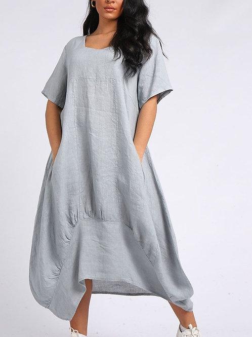 Tulip Hem Linen Maxi Dress