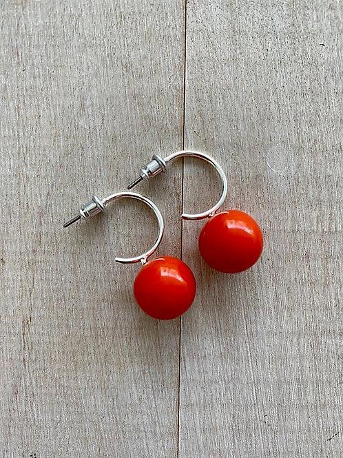 Red Ball Silver Hoop Earrings