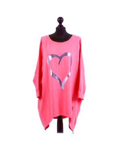 Silver Heart Cotton Tunic in Electric Pink