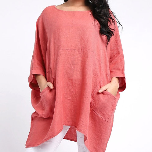 Linen One Size Boat Neck Tunic