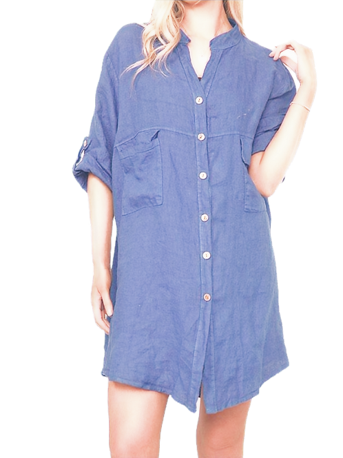 Collared Button Up Linen Tunic