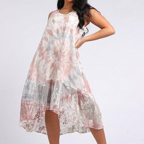Tye Dye Mesh & Crochet Linen Dress