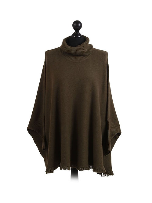 Khaki Comfort Cowl Neck