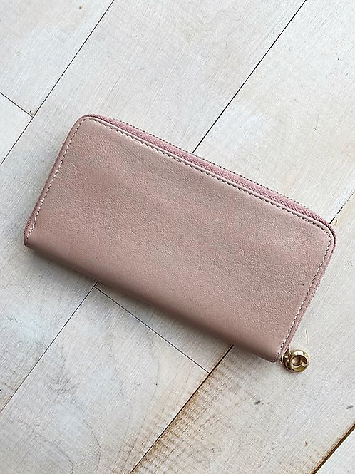 Blush Pink Rose Leather Wallet