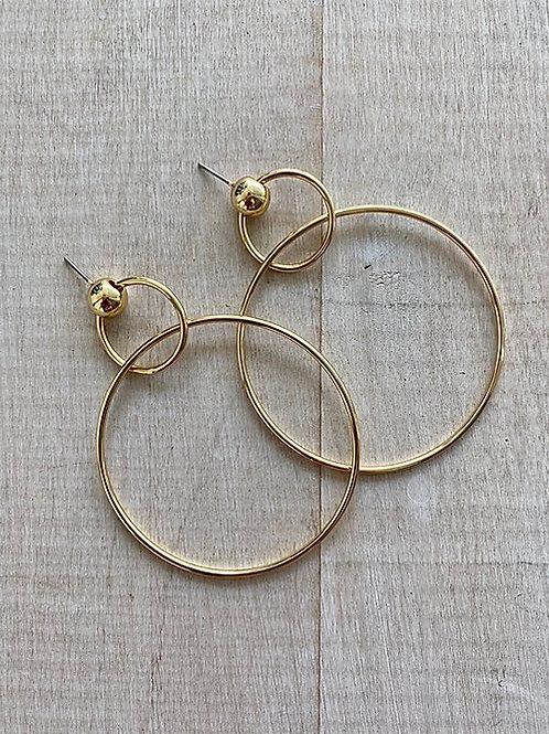 Gold Dot Double Drop Hoop Earrings