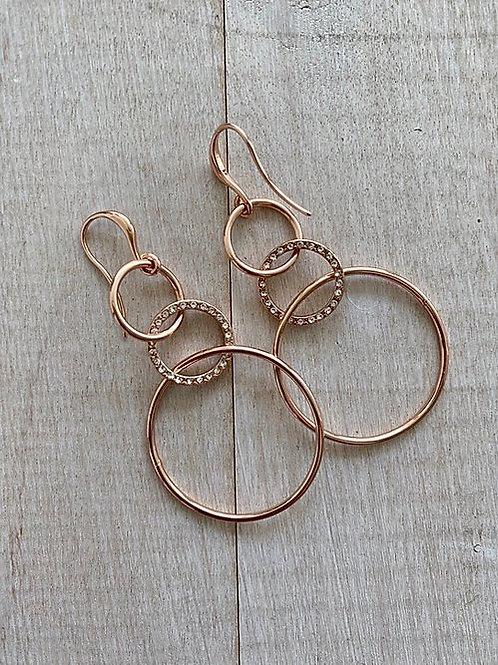 Rose Triple Drop Earrings