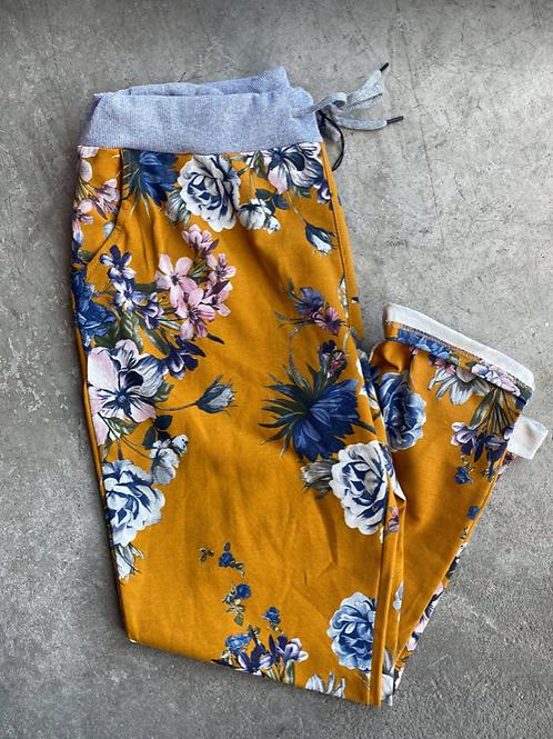 Mustard Floral Print Cotton Comfort Pant