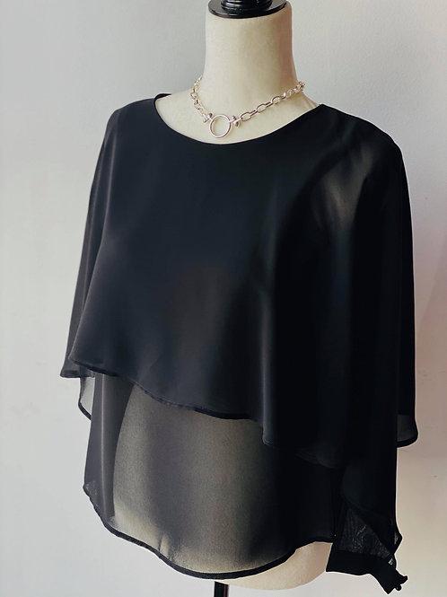 Gaudi Black Slit Sleeve Cuffed Blouse