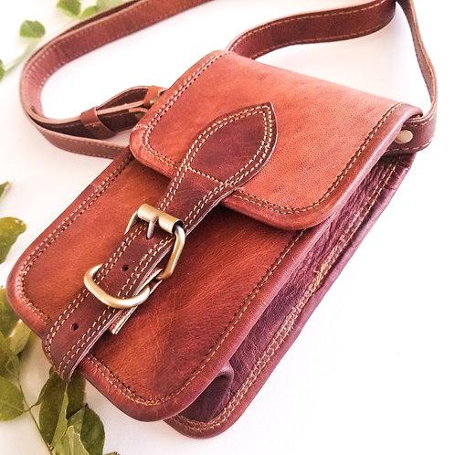 Rustic Leather Crossbody Satchel