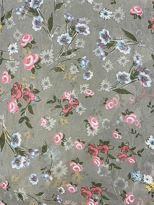 Flower Silk/Cotton Oblique Cut Italian Scarf