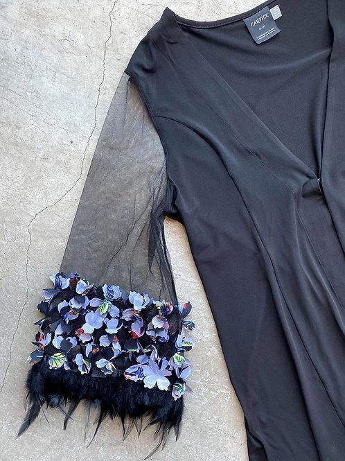 Floral Feather Embellished Sleeve Blazer
