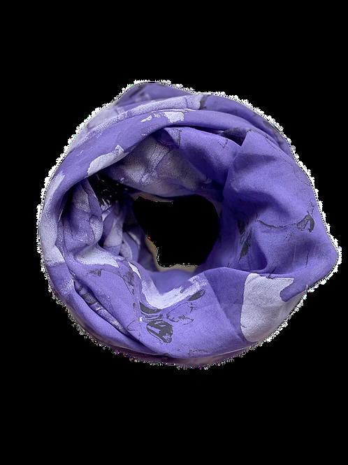 Water Flower Silk/Cotton Oblique Cut Scarf