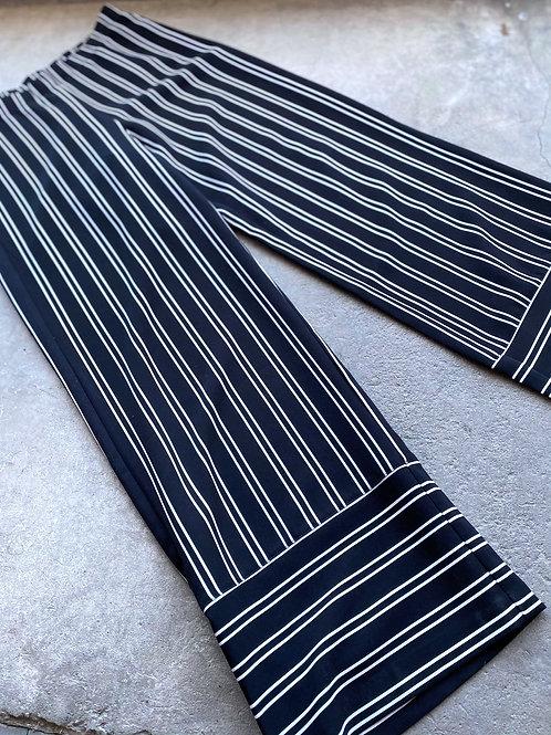 Dark Navy Wide Leg Striped Pant