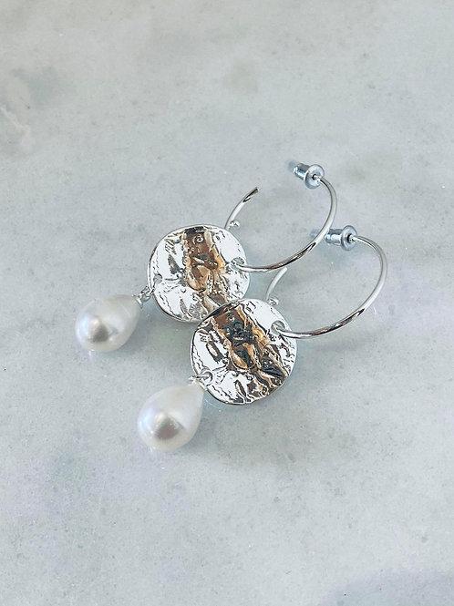 Stamped Print Pearl Drop Earrings