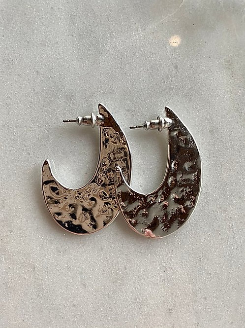 Stamped Silver Moon Earrings