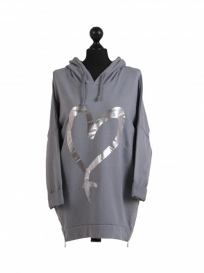 Foil Heart Zip Side Hoodie