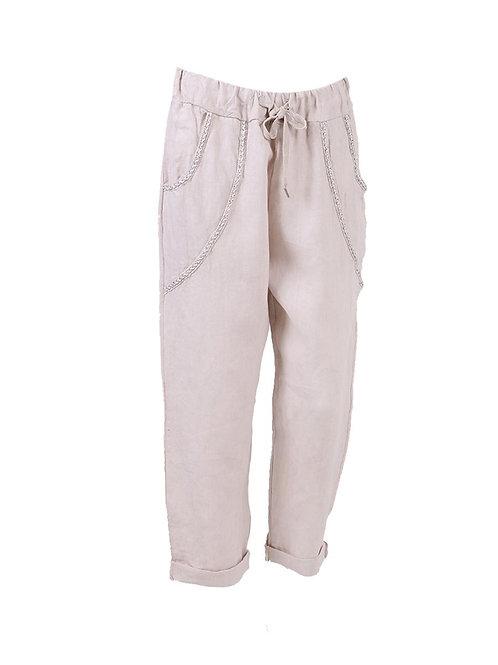 Lurex Pocket Linen Casual Trouser
