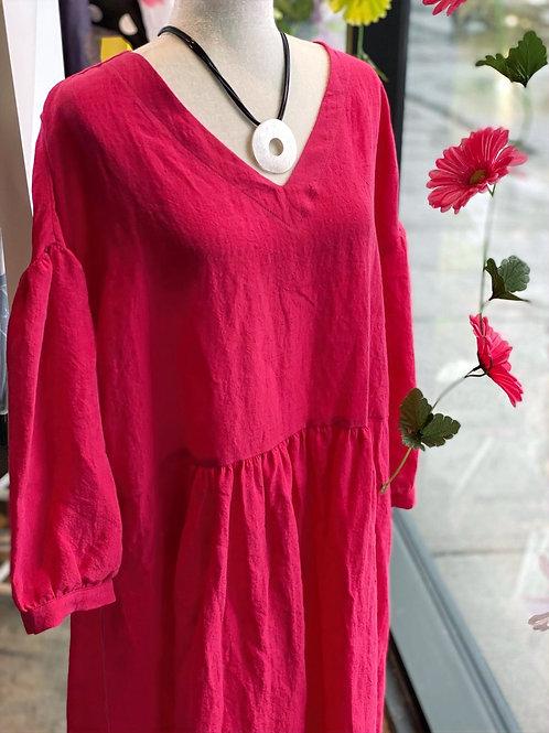 3/4 Sleeve Raspberry Linen Dress Q'Neel