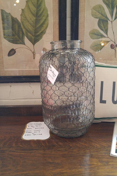Chicken wire covered vase