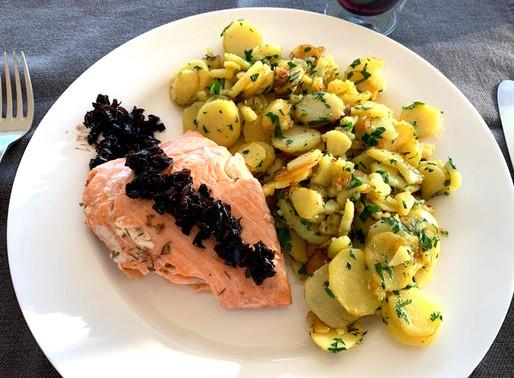 Filet de saumon et son confit d'échalotes
