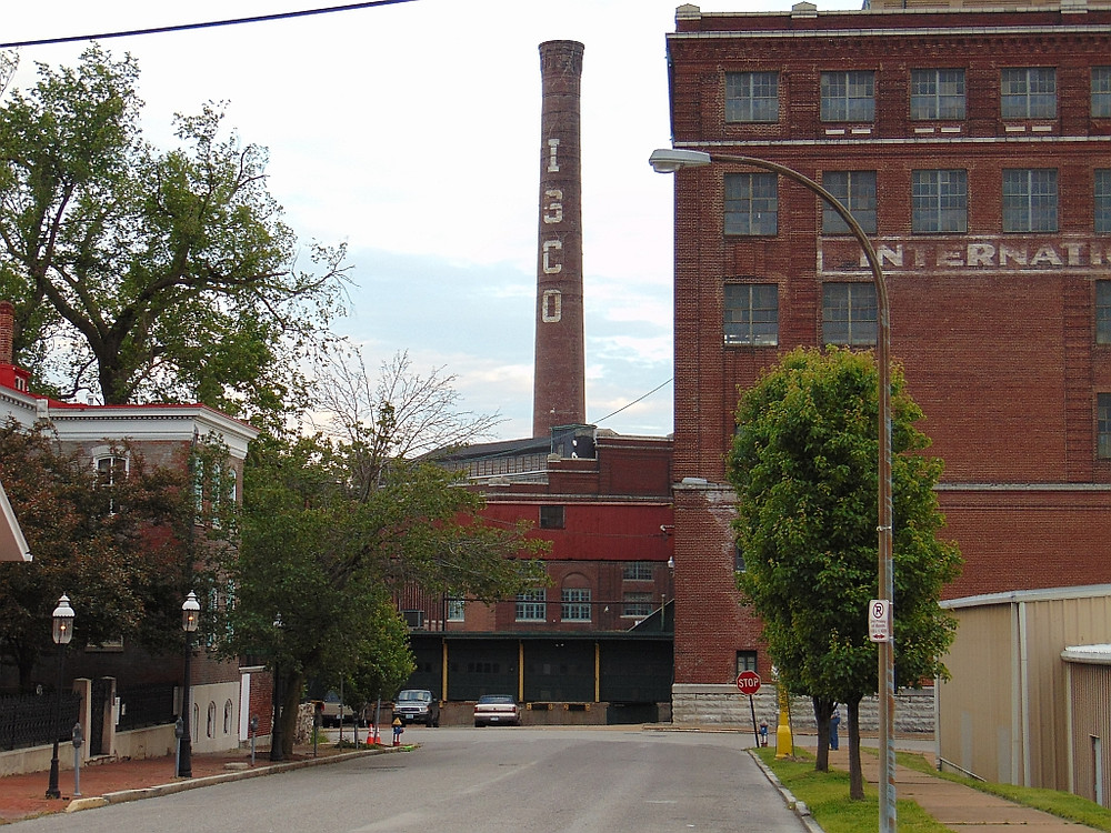 The Lemp Brewery smoke stack, the letters are actually glazed brick